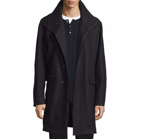 Raw-Edge Single-Breasted Military Coat by Vince in Demolition