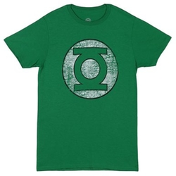 Green Lantern Distressed Logo Men's Green T-Shirt by Bioworld in The Big Bang Theory