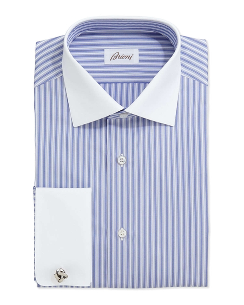 Contrast-Collar Striped Dress Shirt by Brioni	 in Kingsman: The Secret Service