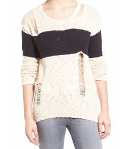 Stripe Destroyed Cotton Sweater by Pam & Gela in Pretty Little Liars