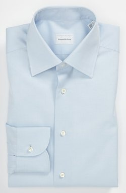 Regular Fit Dress Shirt by Ermenegildo Zegna in Black or White
