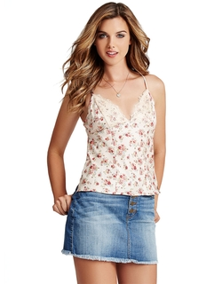 Lace-Trimmed Floral Print Camisole Top by Guess in Begin Again