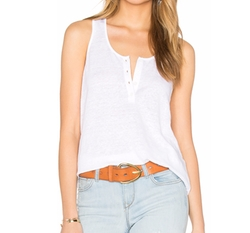 Denim Le Henley Tank by Frame in Fuller House