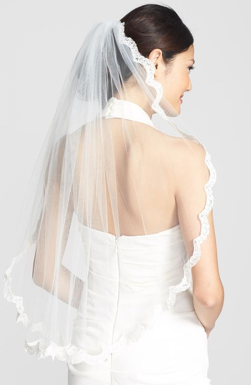 'Lola' Lace Border Veil by WEDDING BELLES NEW YORK in Jersey Boys