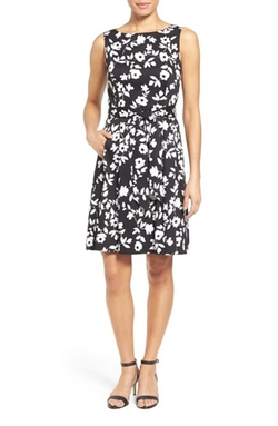 Floral Print Fit & Flare Dress by Anne Klein in Guilt