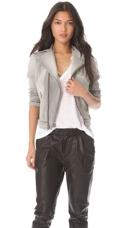 Grey Racer Moto Zip Jacket by J Brand in Transformers: Age of Extinction