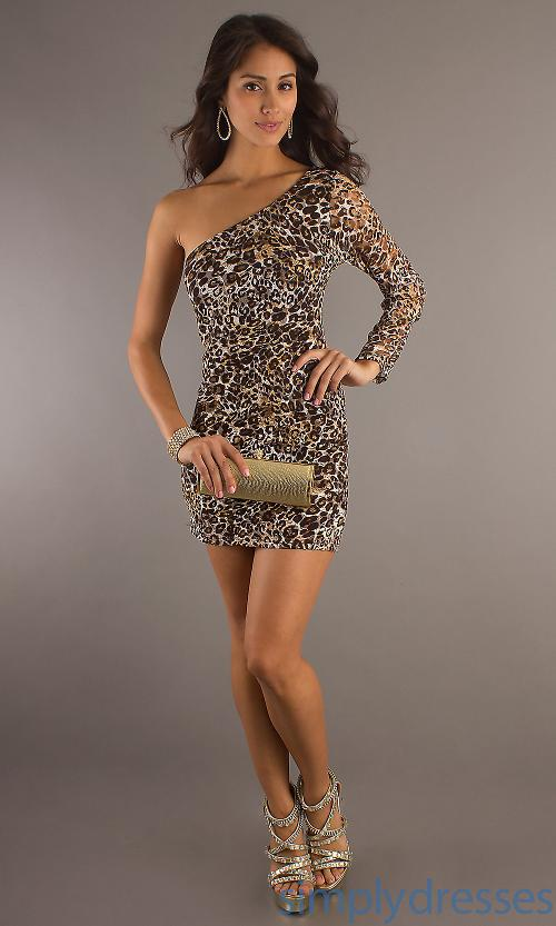 Empire Short Corset One Shoulder Sleeve Animal Print  Dress by Party Dress US in Jersey Boys