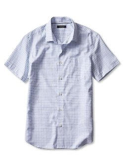 Slim-Fit Non-Iron Short-Sleeve Tattersall Shirt by Banana Republic in The DUFF