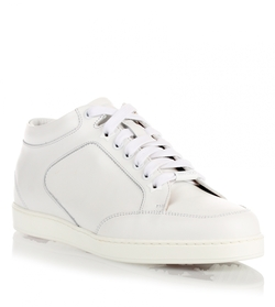 Miami White Leather Sneaker Shoes by Jimmy Choo in Tomorrow Never Dies