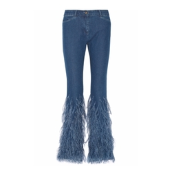 Feather-Trimmed Mid-Rise Flared Jeans by Michael Kors Collection in Empire