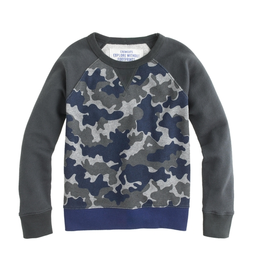 Boys' Baseball Sweatshirt in Camo by J. Crew in Vacation