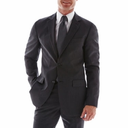Pinstriped Charcoal Suit Jacket by JOE Joseph Abboud in Addicted