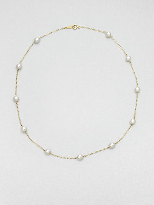 White Akoya Cultured Pearl & 18K Yellow Gold Station Necklace by Mikimoto in A Walk Among The Tombstones
