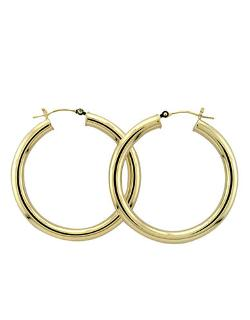 Yellow Gold Polished Hoop Earrings by Lord & Taylor in Couple's Retreat