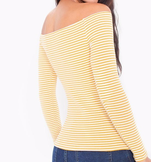 Knitted Carmen Top by American Apparel in Keeping Up With The Kardashians - Season 12 Episode 1