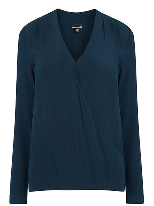 Long Sleeve Wrap Front Blouse by Warehouse in New Girl