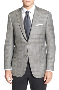 Classic Fit Plaid Silk & Wool Sport Coat by Hart Schaffner Marx in Rosewood