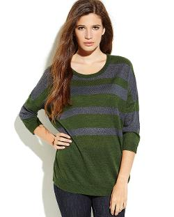 Green & Grey Stripe Knit Sweater by Covet in What If