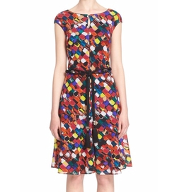 Mosaic Print Stretch Silk Crêpe de Chine Dress by St. John Collection in Chelsea