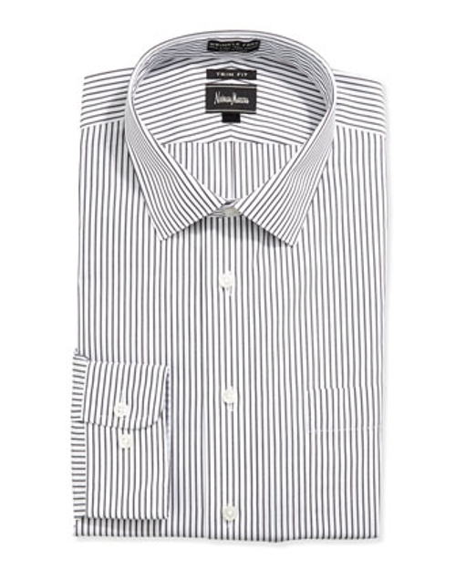 Non-Iron Striped Dress Shirt by Neiman Marcus in Black or White