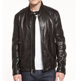 Boarder Leather Moto Jacket by Andrew Marc in The Fate of the Furious
