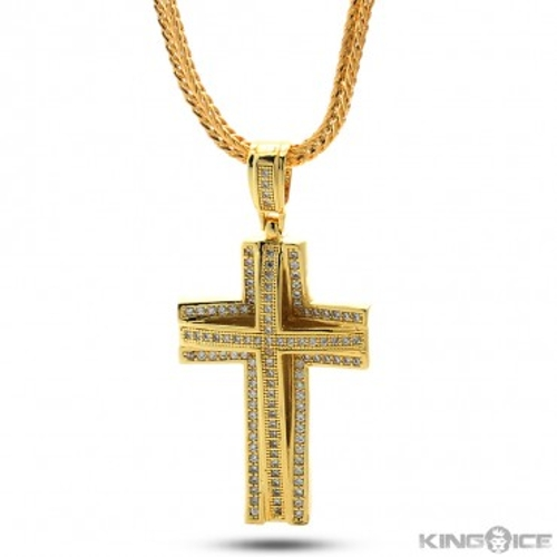 Layered Cross Necklace by King Ice in Dope