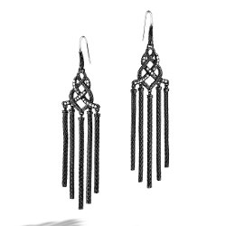 Black Ruthenium Plating Chandelier Earrings by Classic Chain Collection in The Counselor
