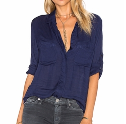 Split Back Button Down Shirt by Bella Dahl in Silicon Valley