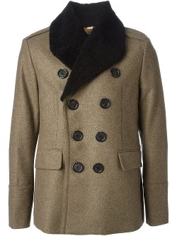 Faux Fur Trimmed Collar Double Breasted Coat by Burberry London in Anchorman 2: The Legend Continues