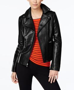 Faux-Leather Moto Jacket by Guess in Guilt