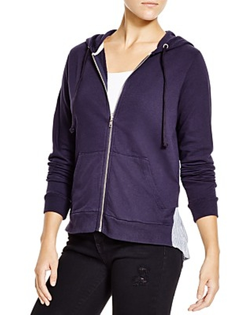 Zip Up Hoodie With Ruffle by Clu Too in Demolition