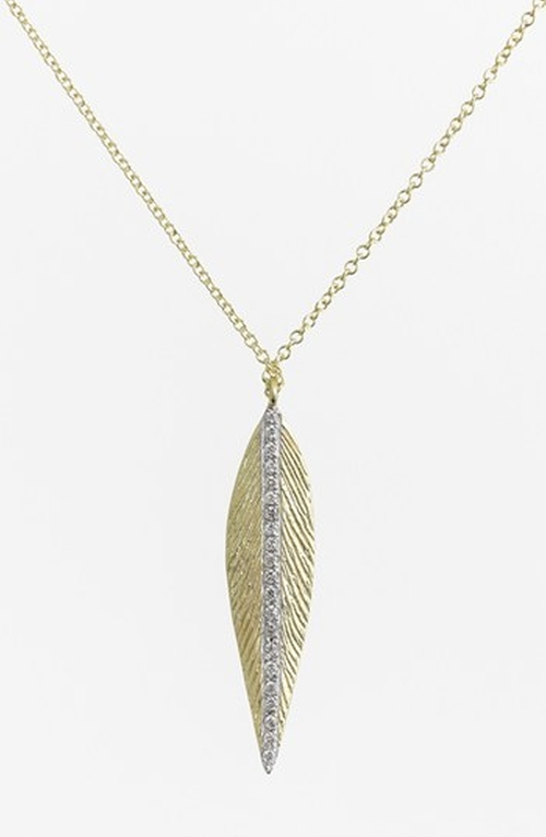 'Charmed' Diamond Brushed Leaf Pendant Necklace by MeiraT in Suits - Season 5 Episode 1
