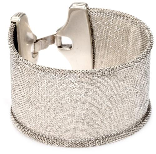Embossed Sketchy Floral Clean Silver Cuff Bracelet by Streets Ahead in Ted