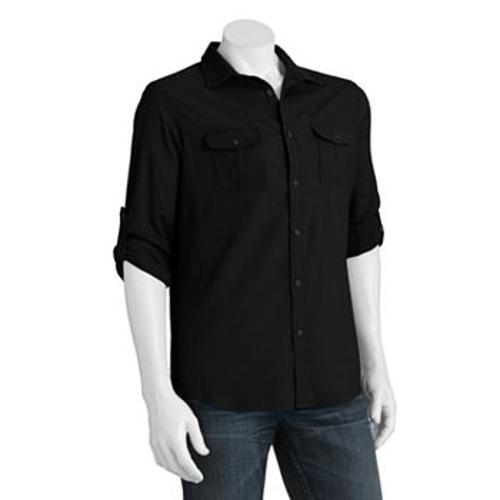 Slim-Fit Roll-Tab Linen-Blend Casual Button-Down Shirt by Marc Anthony in Contraband