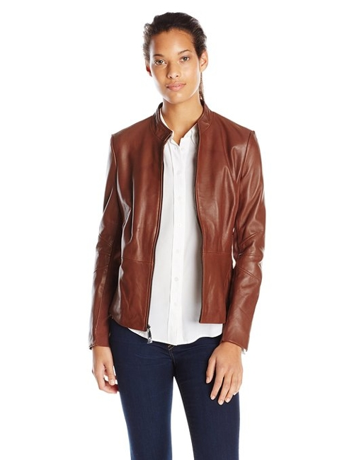 Marcille Zip Front Leather Jacket by T Tahari in San Andreas