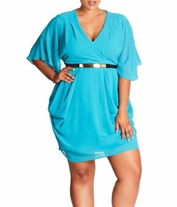 Belted Chiffon Faux Wrap Dress by City Chic in Empire