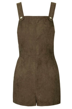 Suedette Military Romper by Topshop in Empire
