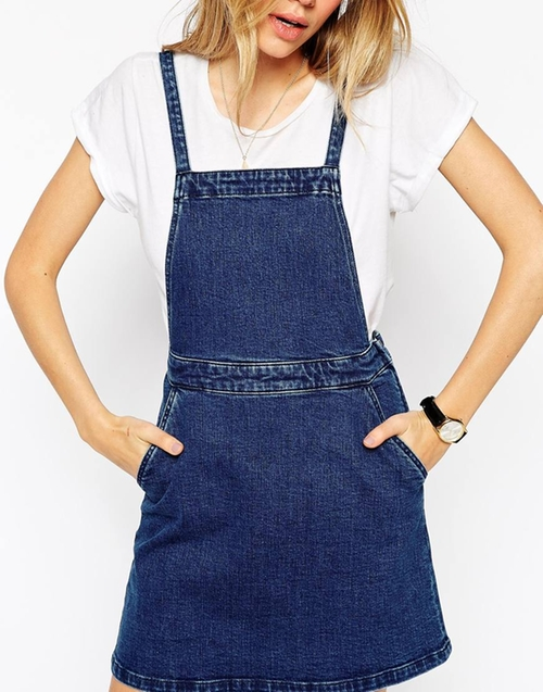 Denim Aline Pinafore Dress In Mid Blue by Asos Collection in Fuller House - Season 1 Episode 5