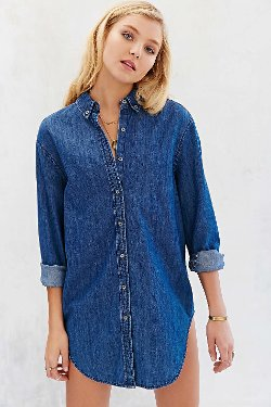 Vintage Inspired Denim Button Down Shirt by BDG in If I Stay