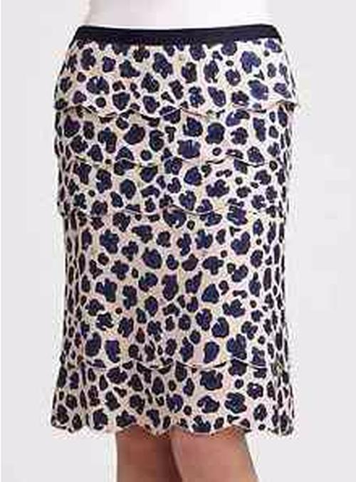 'Meri' Silk/Bamboo Skirt by Tory Burch in The Boss