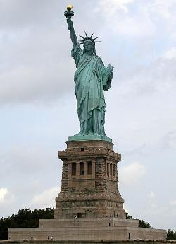 Liberty Island Manhattan, New York, U.S. by Statue of Liberty in New Year's Eve