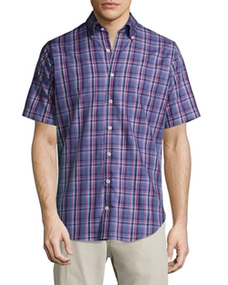 Plaid Short-Sleeve Sport Shirt by Peter Millar in Mr. Robot