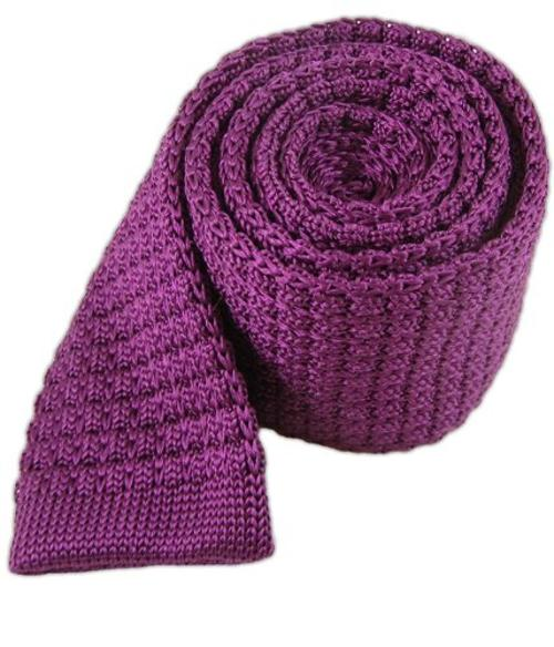 Silk Plum Textured Knit Tie by TheTieBar in Mortdecai