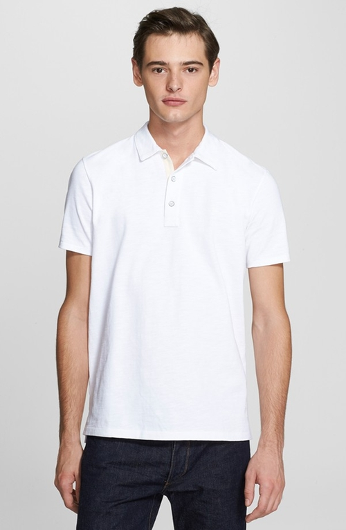 'Standard Issue' Slub Cotton Polo Shirt by Rag & Bone in Black Mass