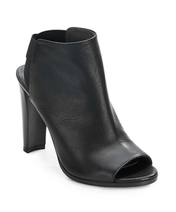 Leather Peep-Toe Booties by Stuart Weitzman in Supergirl