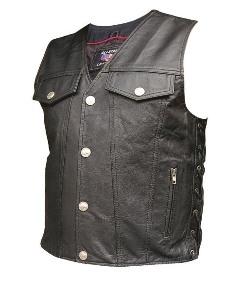 Denim Leather Vest by Allstate Leather in The Best of Me