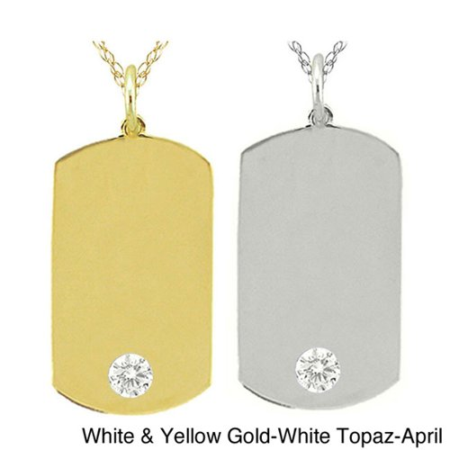 10k Gold Birthstone Dog Tag Necklace by Overstock in Hall Pass