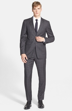 'Stirling' Trim Fit Windowpane Check Wool Suit by Burberry London in Quantico