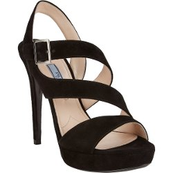 Double Asymmetric-Strap Platform Sandals by Prada in Focus