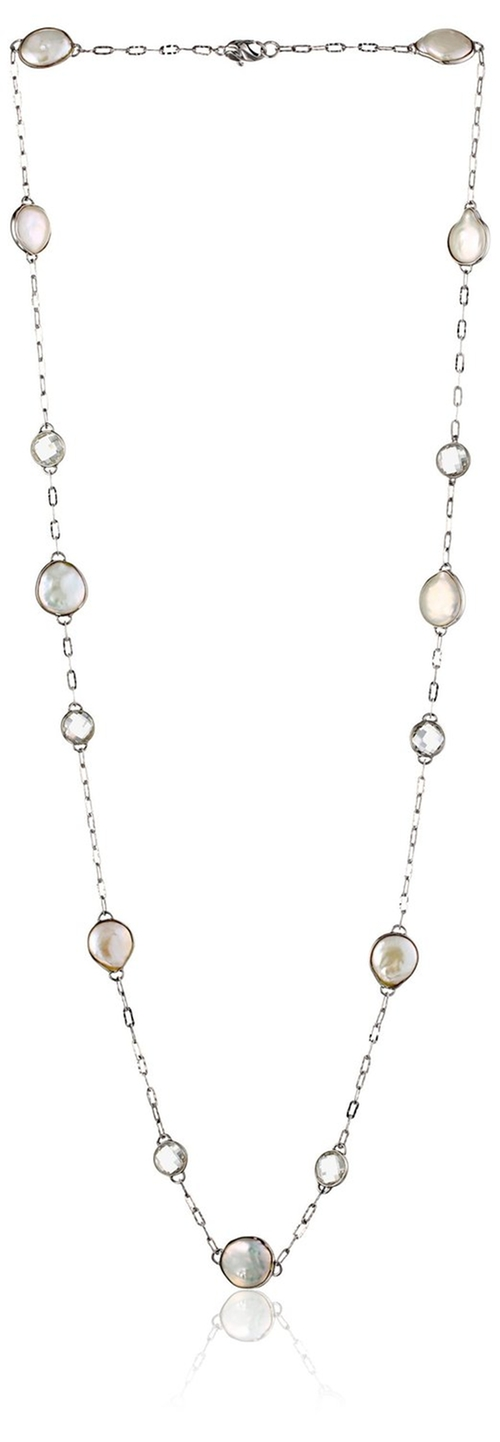 White Freshwater Cultured Pearl And Crystal Necklace by Honora in Bridesmaids